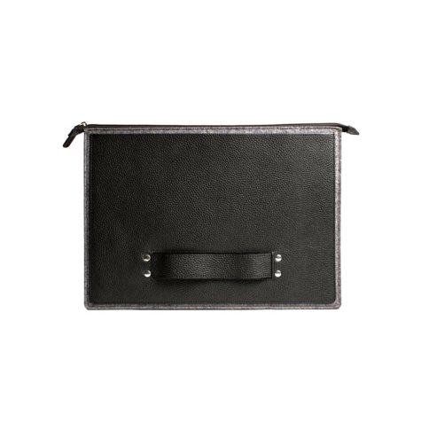 "13"" Top Grain Leather Laptop/Tablet Case, Black Pebble"