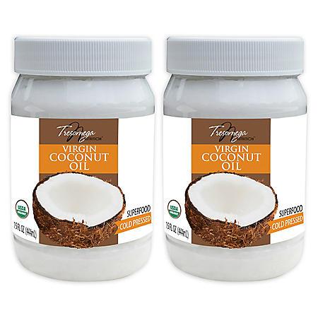 Tresomega Nutrition Organic Virgin Coconut Oil (15 oz., 2 ct.)