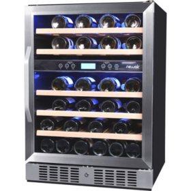 Newair 46 Bottle Built In Dual Zone Wine Cooler