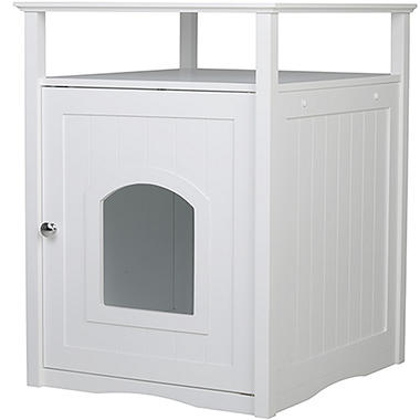 Zoovilla Cat Washroom/Night Stand Pet House, White