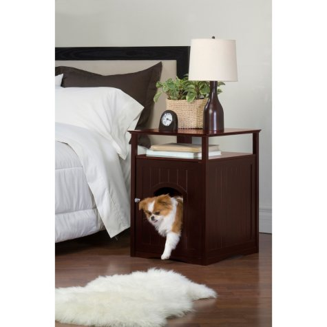Zoovilla Cat Washroom/Night Stand Pet House, Walnut