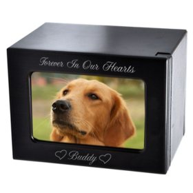 Memorial Gallery Pet Urn with Slider Photo Window, Espresso (Choose Your Size)