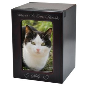 Memorial Gallery Pet Urn with Slider Photo Window, Cherry (Choose Your Size)