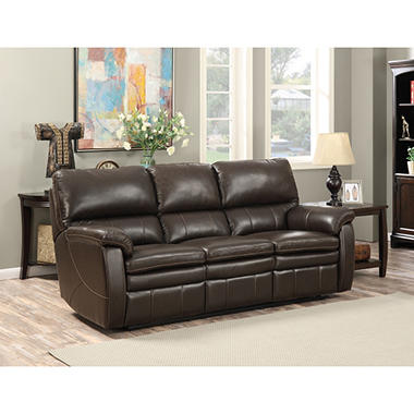Crawford Top-Grain Leather Reclining Sofa  sc 1 st  Samu0027s Club : brown leather reclining couch - islam-shia.org