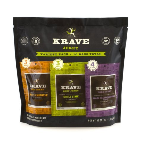 Krave Jerky Variety Pack (1.5 oz. bags, 10 ct.)
