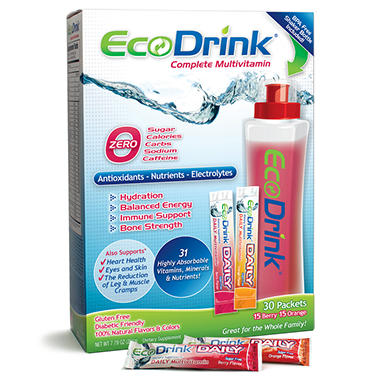EcoDrink Complete Multivitamin Drink Mix Variety Pack - Berry and Orange - 30 pk.