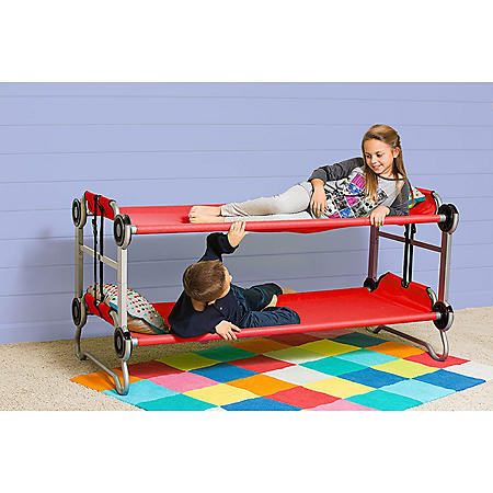 Kid-O-Bunk with Side Organizers & Rubber Foot Pads, Red