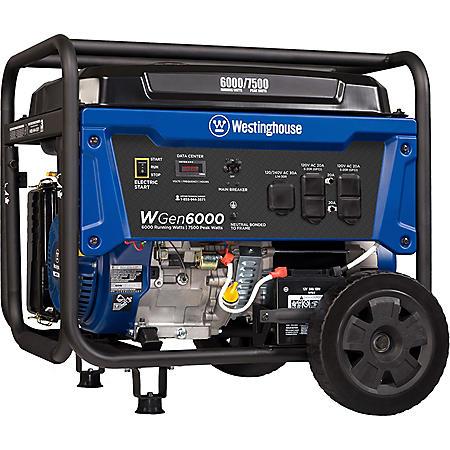Westinghouse 6,000/7,500-Watt Gasoline-Powered Portable Generator