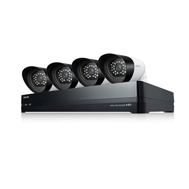 Samsung 8 Channel Security System with 4 720p Cameras, 2TB Hybrid Hard Drive, and 82' Night Vision