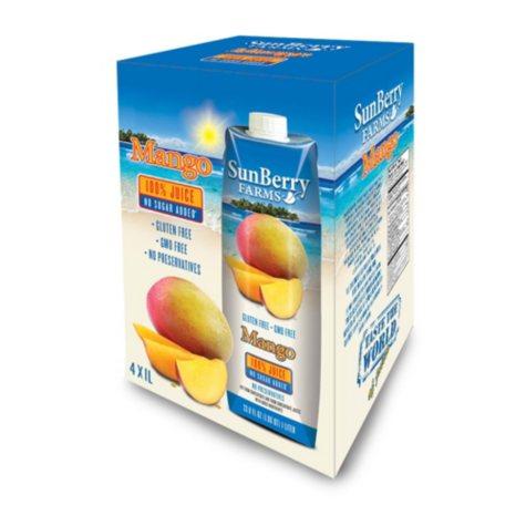 Sunberry Farms 100% Mango Juice (1 L ea., 4 pk.)