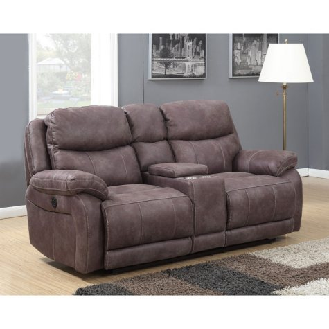 Stewart Dual Power Reclining Console Loveseat with Dual Power Adjustable Headrests