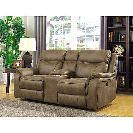 Ronald Dual Power Reclining Console Loveseat with Dual Power Adjustable Headrests