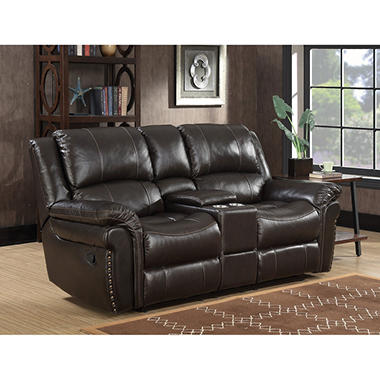 Joseph Top Grain Leather Dual Reclining Console Loveseat