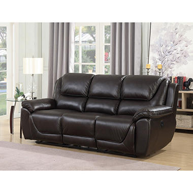 Caden Top Grain Leather Three Seat Dual Power Reclining Sofa