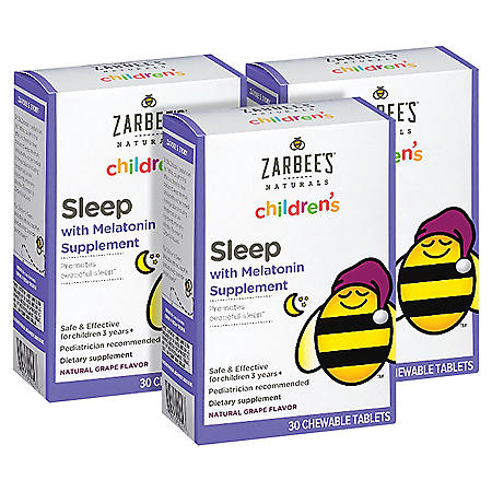 Zarbee's Naturals Children's Sleep with Melatonin, Grape Chewable Tablets (30 ct.)