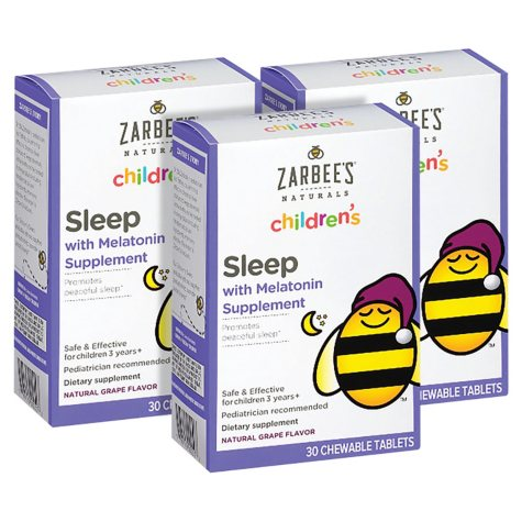 Zarbee's Naturals Children's Sleep with Melatonin, Grape Chewable Tablets (30 ct.)