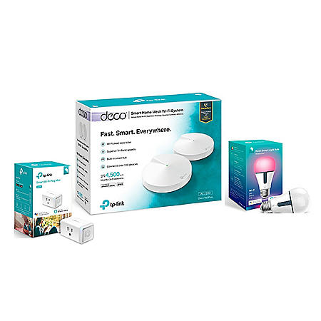DECO M9 Plus Smart Bundle - Deco M9 Tri-Band Mesh System with Smart Plug and Smart Color Bulb