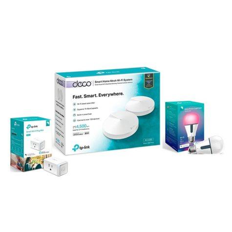 DECO M9 Plus Smart Bundle - Deco M9 Tri-Band Mesh System with Smart Plug and Smart Color Bulb