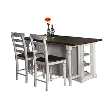 cottage kitchen island with ladderback stools, 3-pc. set - sam's club