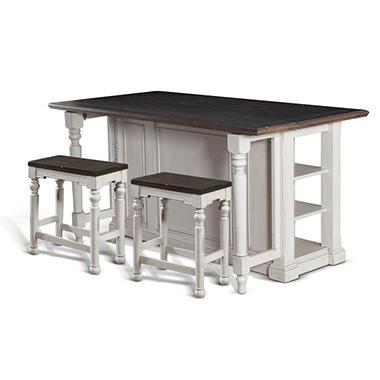 cottage kitchen island set with backless stools, 3-pc. set - sam's