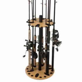 Rush Creek Creations 24-Fishing Rod Spinning Storage Rack with Dual Rod Clips
