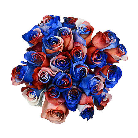 Roses, Tinted Red, White and Blue (50 stems)