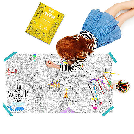 """Pirasta Coloring Poster Bundle (Qty.2 coloring posters 39""""x22"""", 12 dual coloring pencils, and character stickers)"""