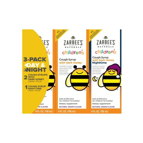 Zarbee's Children's Cough Syrup with Dark Honey Day & Night Combo, Natural Grape Flavor (4 oz. bottles, 3 pk.)