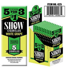 Show White Grape Cigarillos, Pre-priced 5 for $1 (5 pk., 15 ct.)