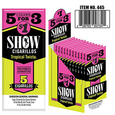 Show Tropical Twista Cigarillos, Pre-priced 5 for $1 (5 pk., 15 ct.)