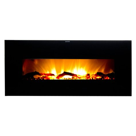 Warm House VWWF-10306 Valencia Widescreen Wall Hanging Electric Fireplace with Remote Control - Black