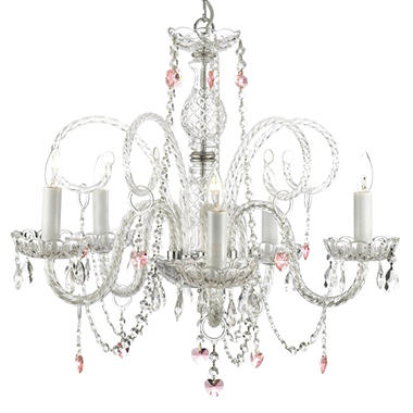 Harrison Lane Venetian-Style Crystal Chandelier with Pink Crystal Hearts