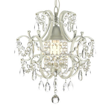 Harrison Lane Wrought-Iron and Crystal White Chandelier