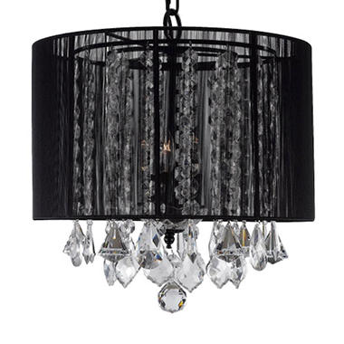 Harrison Lane 3-Light Chandelier with Crystal and Black Shade