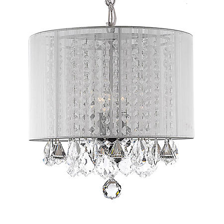 Harrison Lane 3-Light Chandelier with Crystal and White Shade