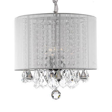 Harrison lane 3 light chandelier with crystal and white shade harrison lane 3 light chandelier with crystal and white shade aloadofball Images