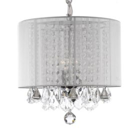 Chandeliers pendant fixtures sams club harrison lane 3 light chandelier with crystal and white shade aloadofball Image collections