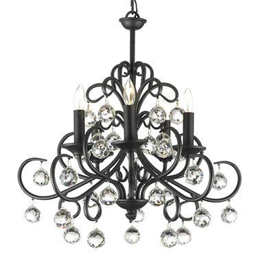 Harrison Lane Wrought-Iron and Crystal 5-Light Chandelier with 40mm Crystal Balls