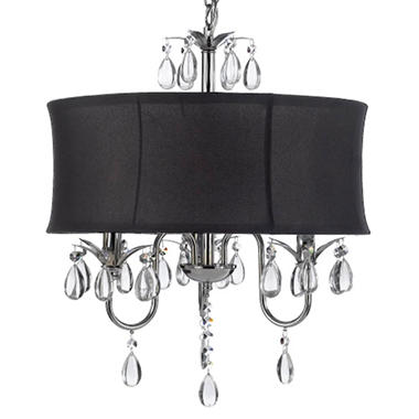Harrison lane 3 light chandelier with crystals and large black shade harrison lane 3 light chandelier with crystals and large black shade aloadofball Images