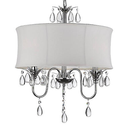 Harrison Lane 3-Light Chandelier with Crystals and Large White Shade