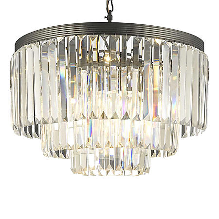 Harrison Lane Glass Fringe 3-Tier Crystal Chandelier