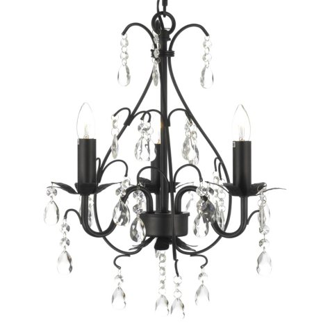 Harrison Lane Versailles Wrought-Iron and Crystal 3-Light Chandelier (Black)