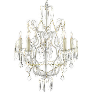Harrison Lane Wrought-Iron and Crystal White 5-Light Chandelier