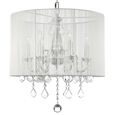 Harrison Lane 6-Light Chandelier with Crystals and Large White Shade