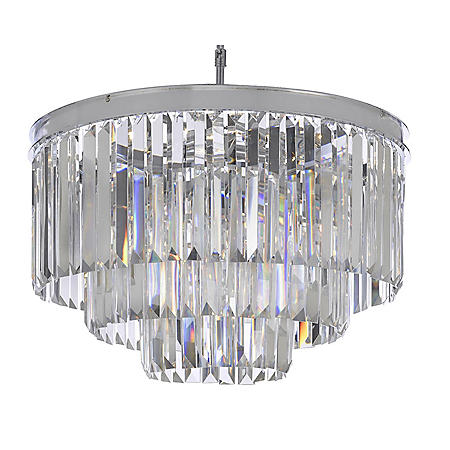 Harrison Lane Odeon Crystal Glass Fringe 3 Tier Chandelier Chrome