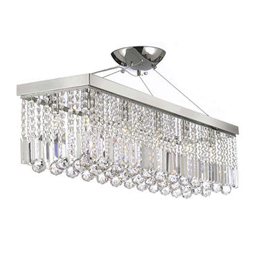 Harrison Lane Modern Crystal Chrome Rectangle Linear Chandelier Pendant