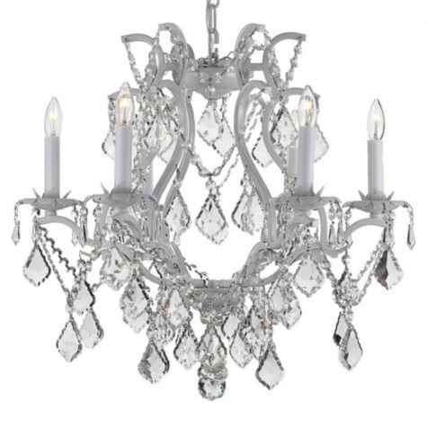 Harrison Lane Empress Crystal and Wrought Iron White Chandelier