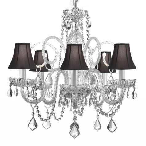 Harrison Lane Venetian Style 5 Light Crystal Chandelier with Shades
