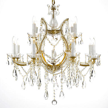Harrison Lane Maria Theresa 2 Tier Crystal Chandelier Gold