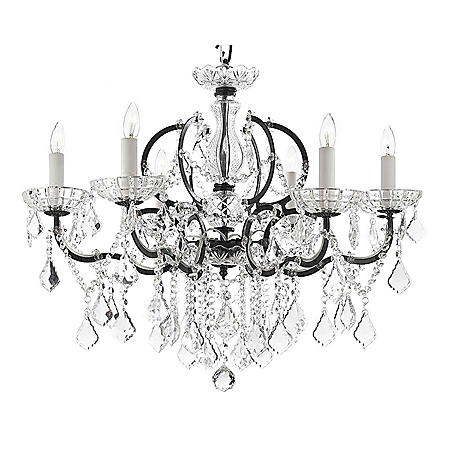 Harrison Lane Baroque Wrought Iron and Crystal 6 Light Chandelier